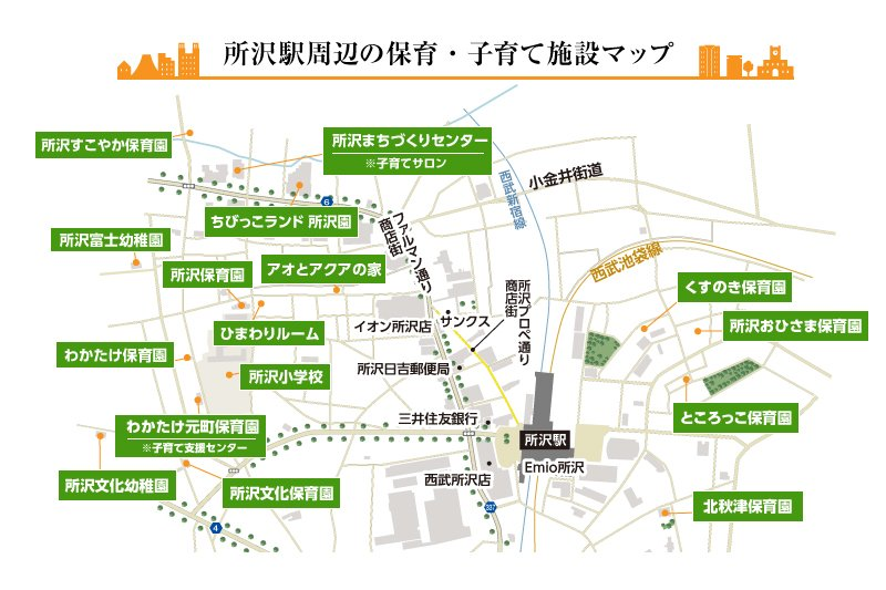 「所沢」駅周辺には子育て施設が集まっている