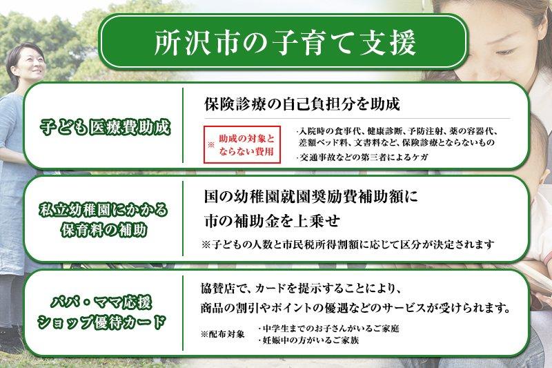 所沢市の主な子育てサポート(出典:所沢市HP)