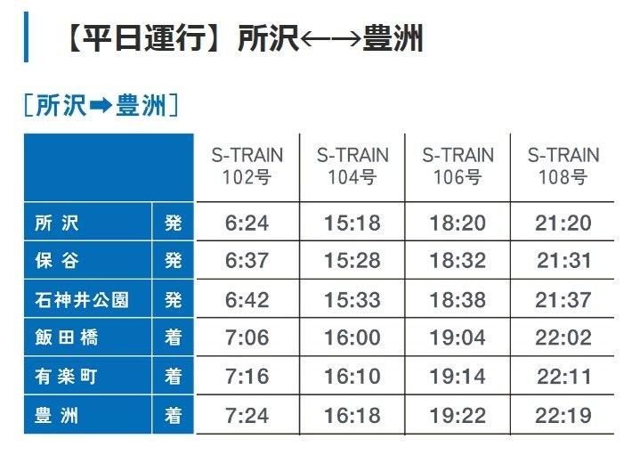 「S-TRAIN」平日運行・時刻表(所沢→豊洲)