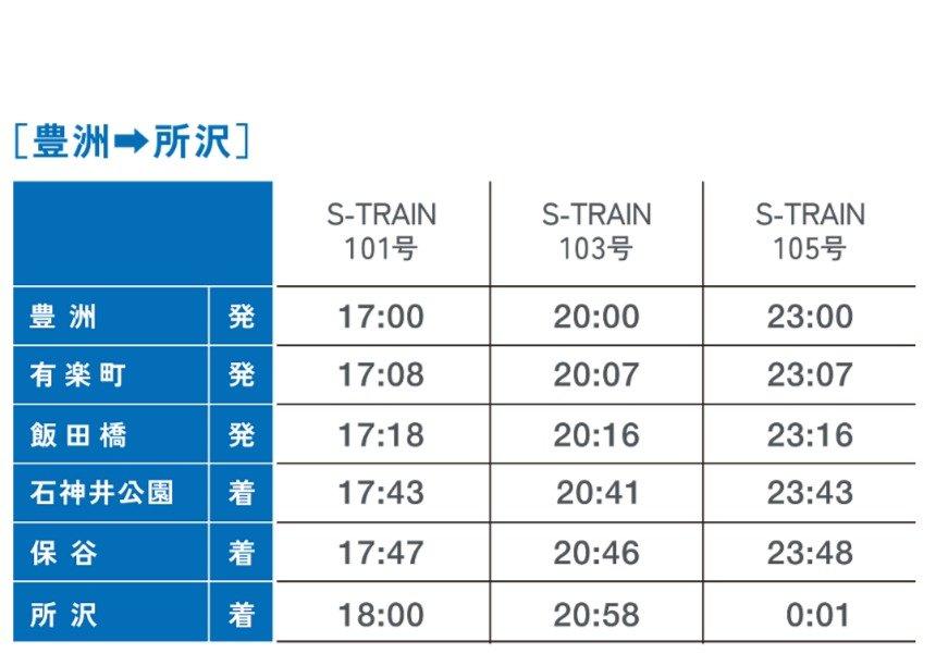 「S-TRAIN」平日運行・時刻表(豊洲→所沢)