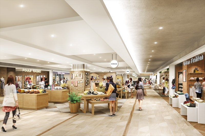 「グランエミオ所沢」2階ファッション雑貨ゾーン