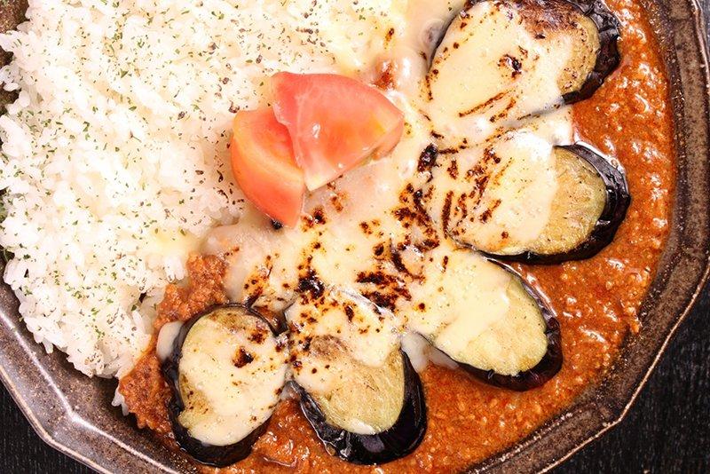「揚げ茄子とチーズのキーマカレー」